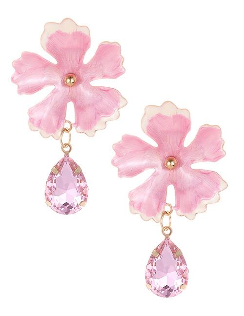 Fashion Pink Waterdrop Shape Decorated Flower Earrings
