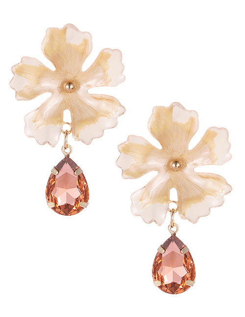 Fashion Beige Waterdrop Shape Decorated Flower Earrings