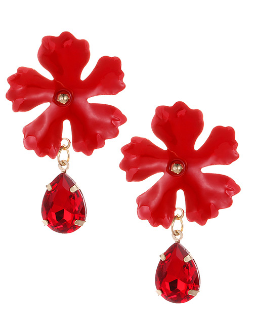 Fashion Red Waterdrop Shape Decorated Flower Earrings