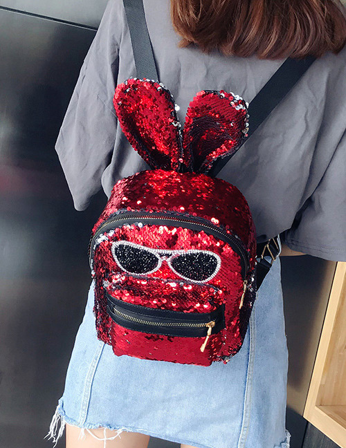 Fashion Red Rabbit Shape Decorated Backpack