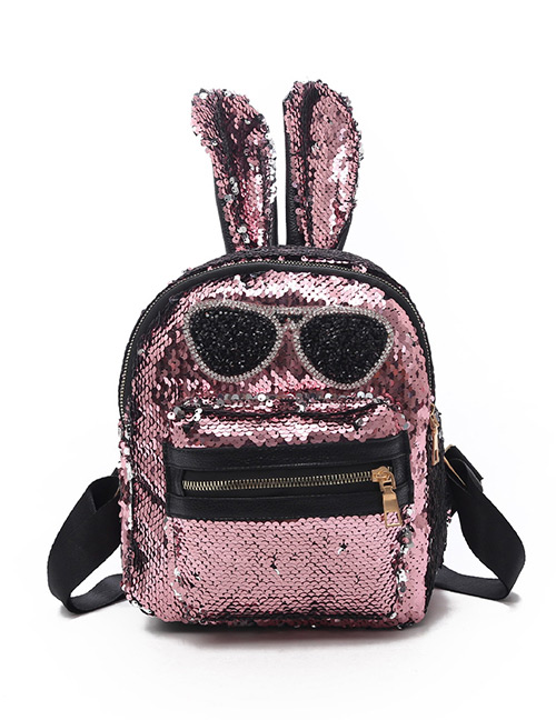 Fashion Pink Rabbit Shape Decorated Backpack