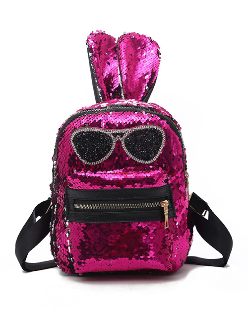 Fashion Plum Red Rabbit Shape Decorated Backpack