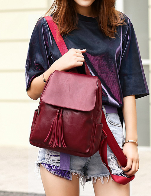 Fashion Claret Red Tassel Decorated Backpack