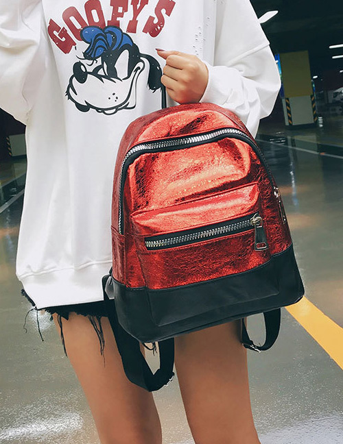 Fashion Red+black Color-matching Decorated Backpack