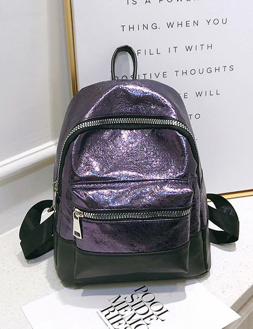 Fashion Purple+black Color-matching Decorated Backpack
