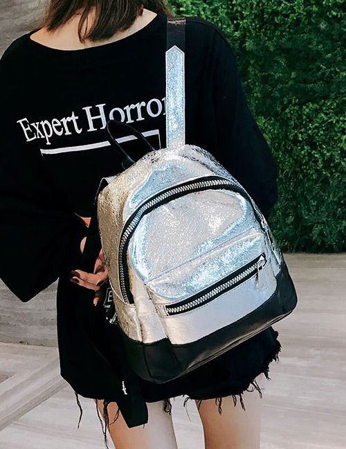 Fashion Silver Color+black Color-matching Decorated Backpack