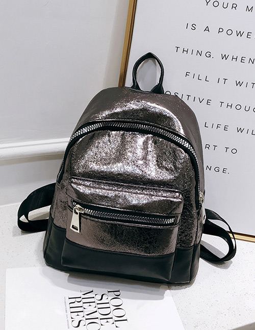 Fashion Gray+black Color-matching Decorated Backpack