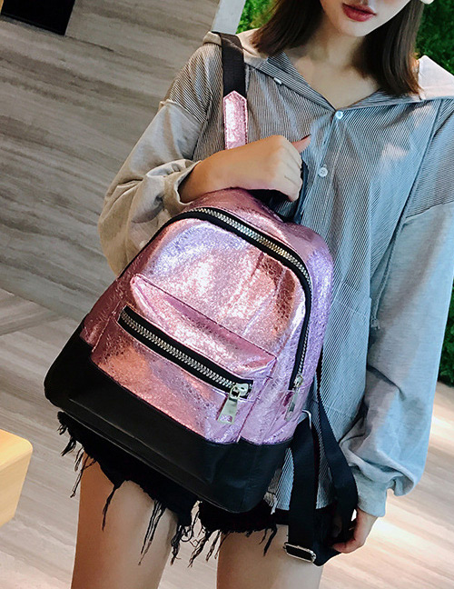 Fashion Pink+black Color-matching Decorated Backpack