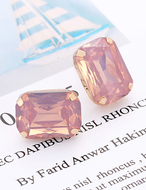 Fashion Pink Square Shape Decorated Earrings