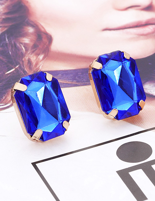 Fashion Sapphire Blue Square Shape Decorated Earrings