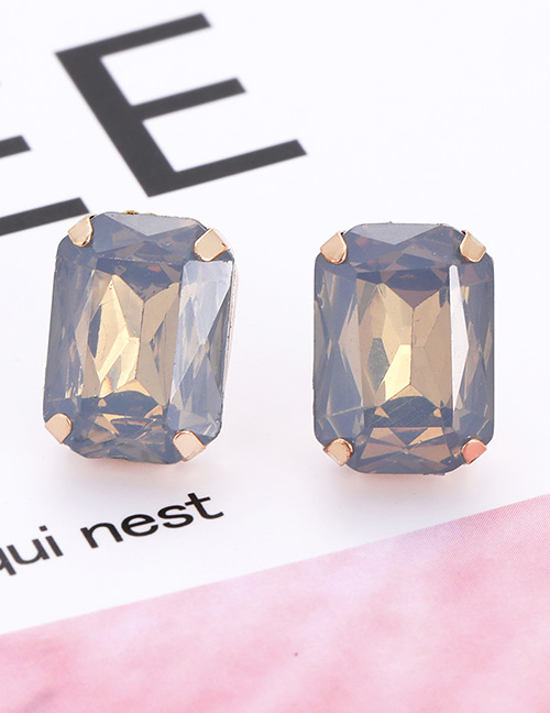 Fashion Light Blue Square Shape Decorated Earrings