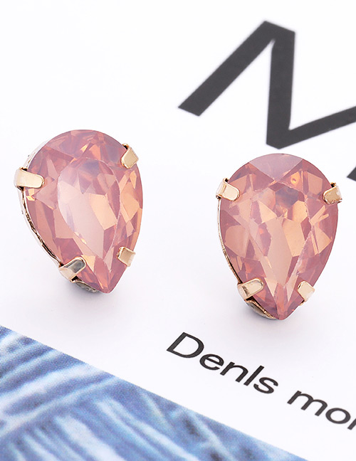 Fashion Ligh Pink Waterdrop Shape Decorated Earrings