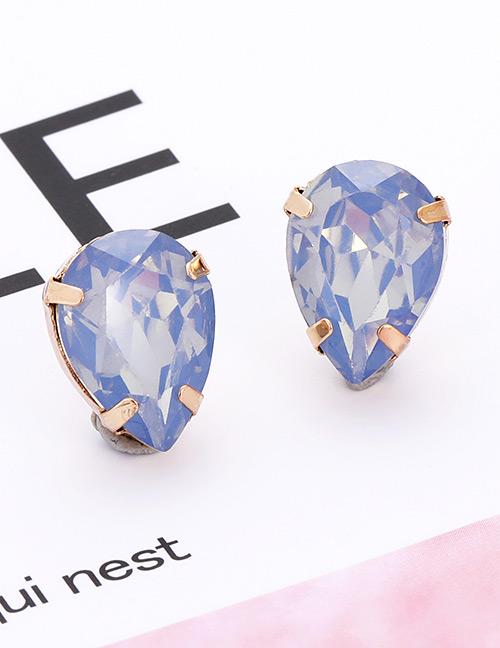 Fashion Light Blue Waterdrop Shape Decorated Earrings
