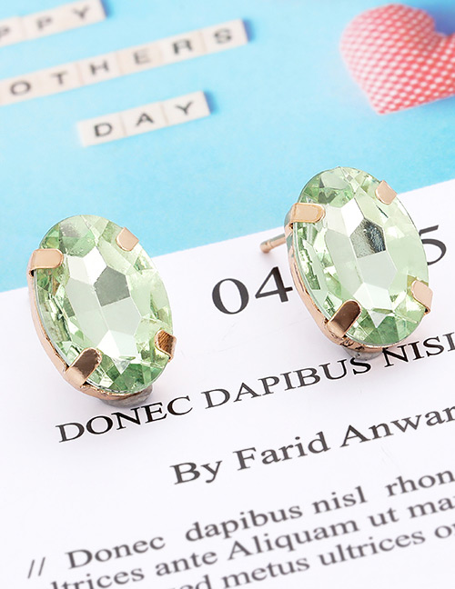 Fashion Light Green Oval Shape Decorated Earrings