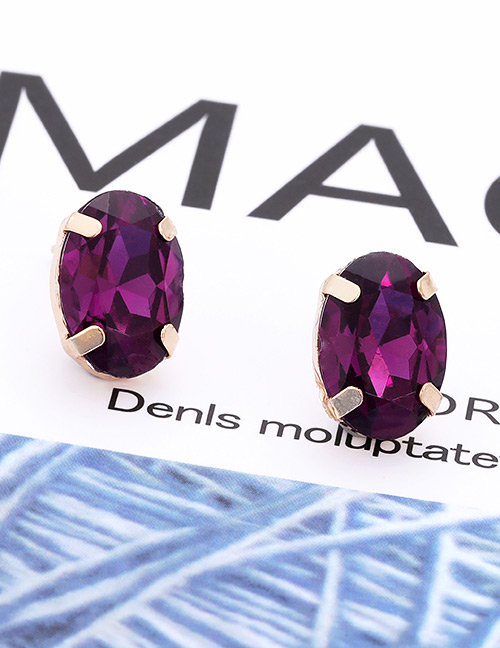 Fashion Purple Oval Shape Decorated Earrings