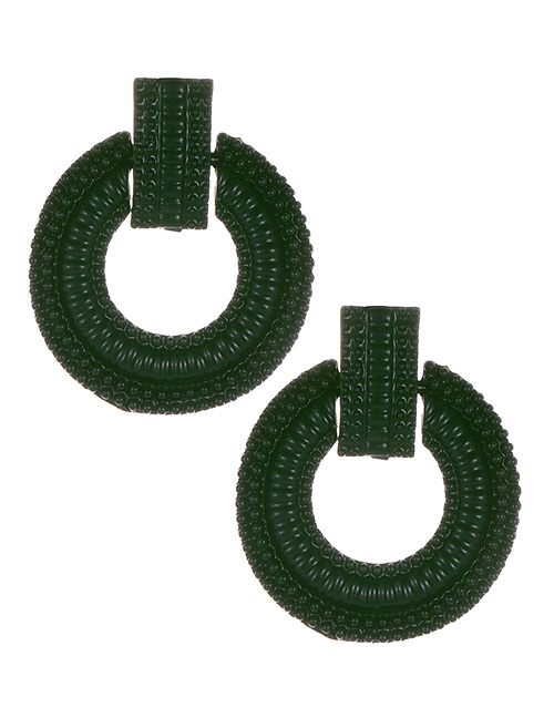 Fashion Dark Green Round Shape Decorated Earrings