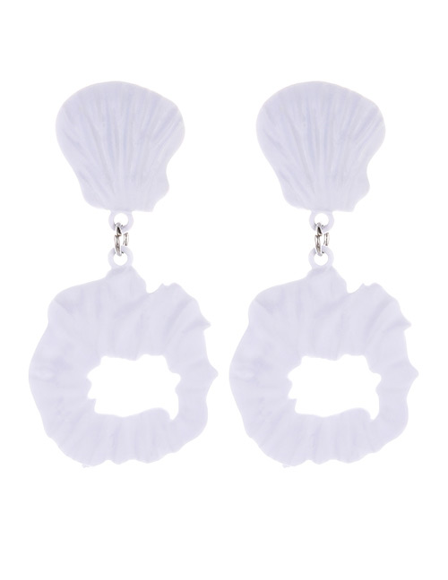Fashion White Irregular Shape Decorated Earrings