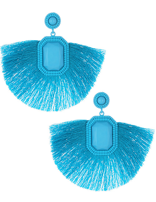 Fashion Blue Square Shape Decorated Tassel Earrings