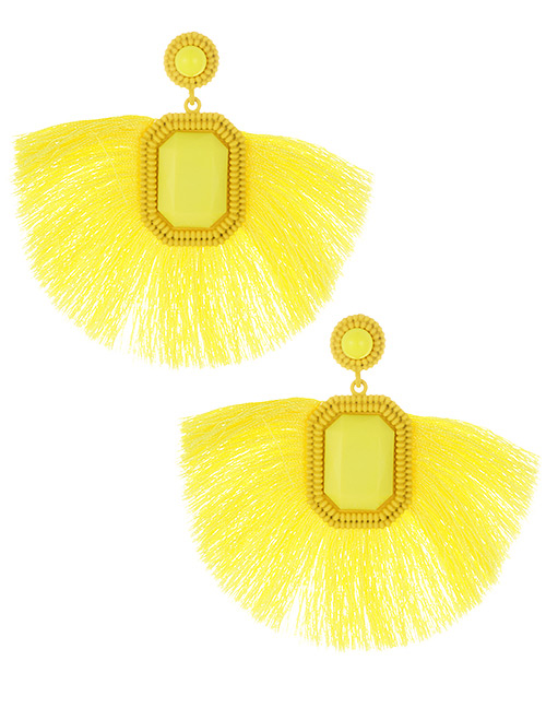 Fashion Yellow Square Shape Decorated Tassel Earrings