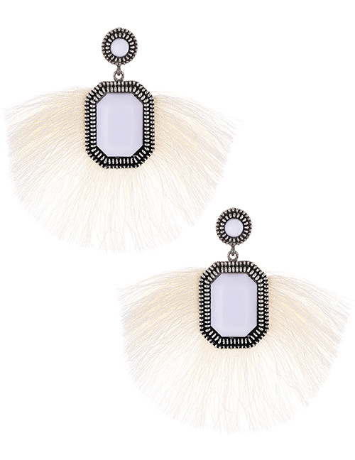 Fashion Beige Square Shape Decorated Tassel Earrings