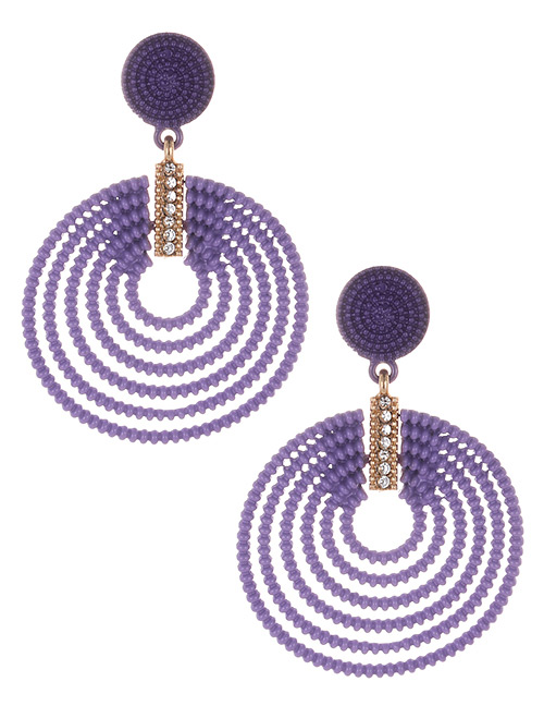 Fashion Purple Round Shape Decorated Hollow Out Earrings