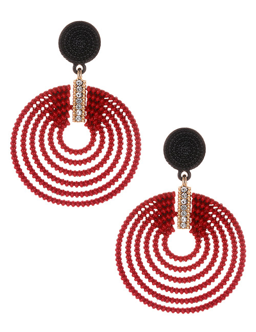 Fashion Claret Red Round Shape Decorated Hollow Out Earrings
