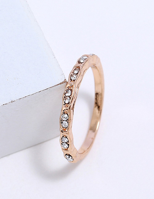 Fashion Gold Color Diamond Decorated Pure Color Ring