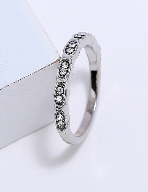 Fashion Silver Color Diamond Decorated Pure Color Ring