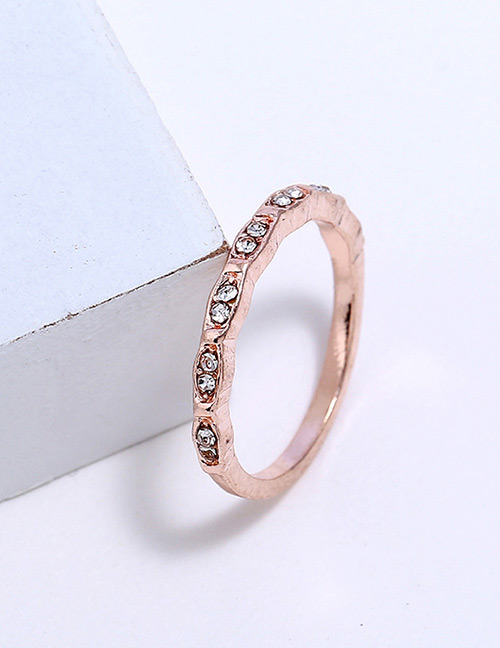 Fashion Rose Gold Diamond Decorated Pure Color Ring