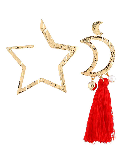 Fashion Red+gold Color Star&moon Shape Decorated Earrings