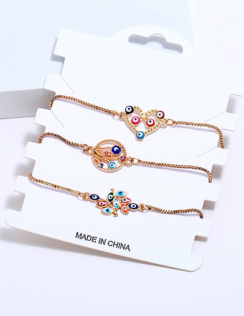 Fashion Multi-color Heart Shape Decorated Bracelet (3 Pcs)