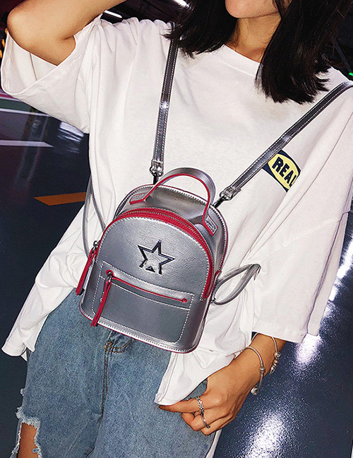 Fashion Silver Color Zipper Decorated Backpack