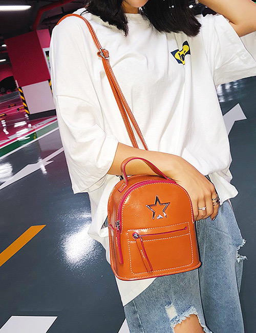 Fashion Brown Zipper Decorated Backpack