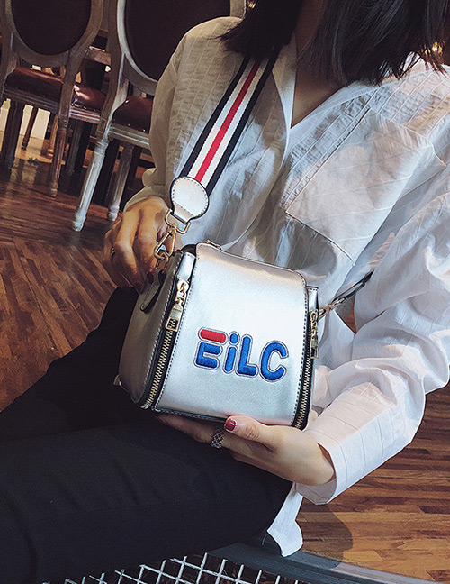 Fashion Silver Color Letter Pattern Decorated Shoulder Bag