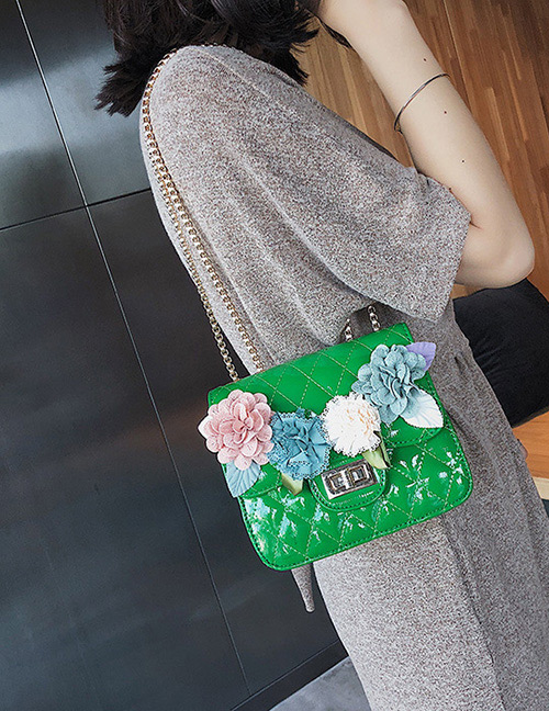 Fashion Green Flower Decorated Square Shape Shoulder Bag