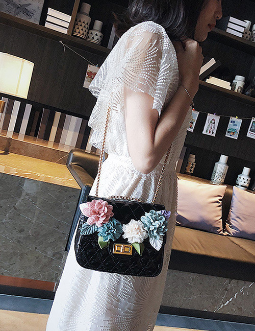 Fashion Black Flower Decorated Square Shape Shoulder Bag
