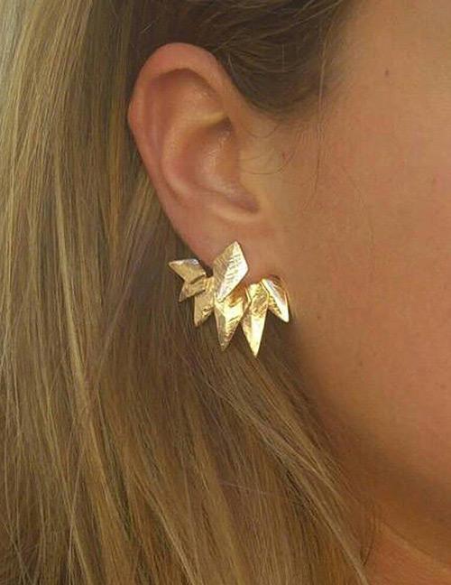 Fashion Gold Color Leaf Shape Decorated Earrings