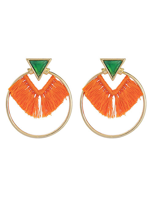 Fashion Gold Color+orange Tassel Decorated Earrings