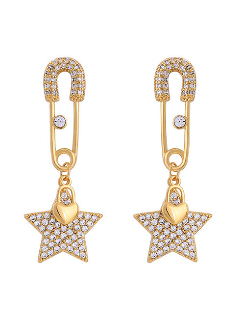 Fashion Gold Color Star&heart Shape Decorated Earrings