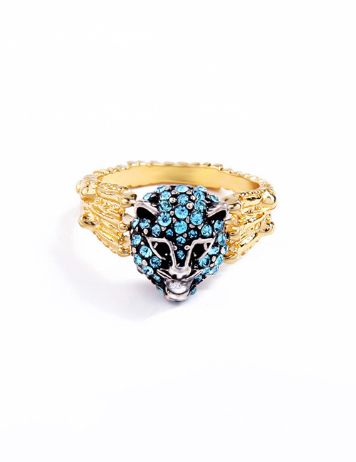 Fashion Blue Leopard Shape Decorated Ring