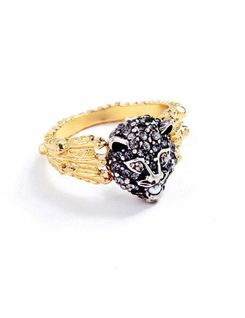 Fashion Black Leopard Shape Decorated Ring