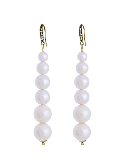 Fashion White Pearl Decorated Pure Color Earrings