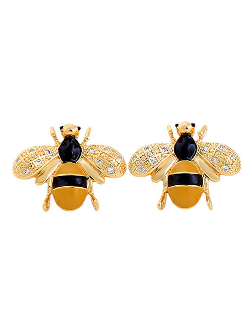 Fashion Yellow Bee Shape Decorated Earrings