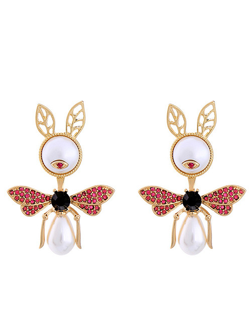Fashion Gold Color Pearl&diamond Decorated Earrings
