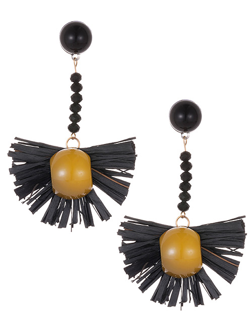 Fashion Black Sector Shape Decorated Earrings