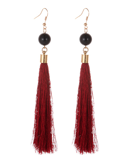 Simple Claret Red Tassel Decorated Earrings