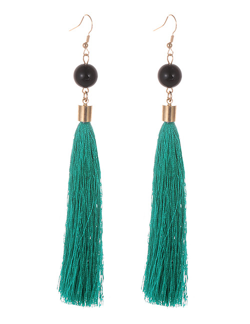 Simple Green Tassel Decorated Earrings