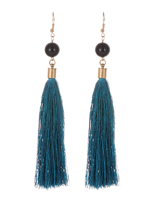 Simple Blue Tassel Decorated Earrings
