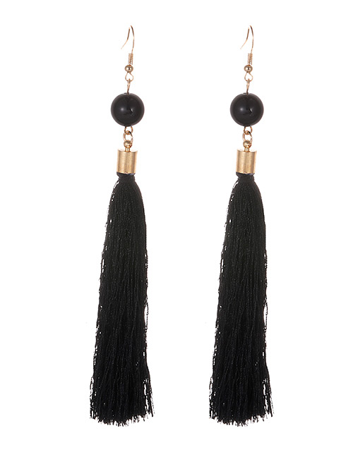 Simple Black Tassel Decorated Earrings