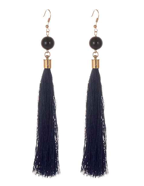 Simple Dark Blue Tassel Decorated Earrings